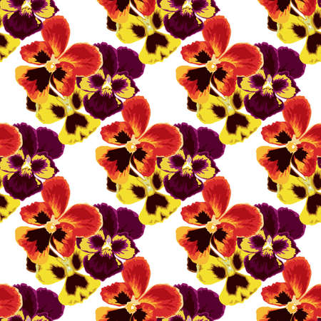 Elegant seamless pattern with pansy flowers, design elements. Floral pattern for invitations, cards, print, gift wrap, manufacturing, textile, fabric, wallpapers Vettoriali