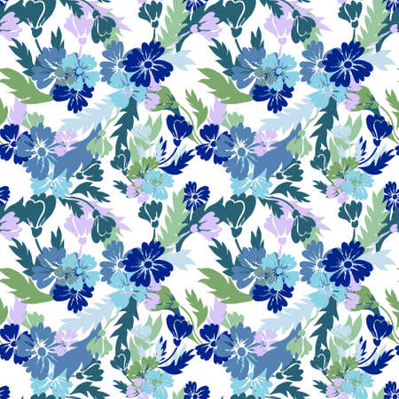 Elegant seamless pattern with cornflowers, design elements. Floral pattern for invitations, cards, print, gift wrap, manufacturing, textile, fabric, wallpapers