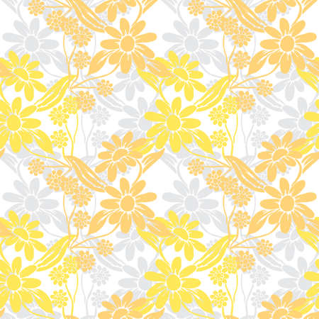 Elegant seamless pattern with chamomile flowers, design elements. Floral  pattern for invitations, cards, print, gift wrap, manufacturing, textile, fabric, wallpapers