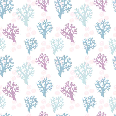 Elegant seamless pattern with corals, design elements. Marine pattern for invitations, cards, print, gift wrap, manufacturing, textile, fabric, wallpapers