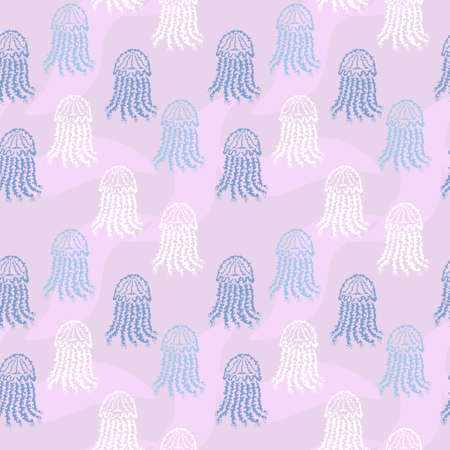 Elegant seamless pattern with meduses, design elements. Marine pattern for invitations, cards, print, gift wrap, manufacturing, textile, fabric, wallpapers