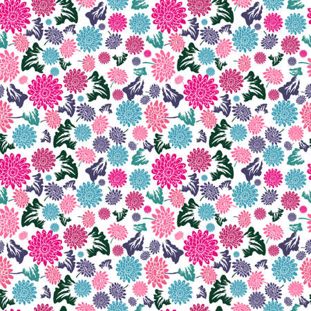 Elegant seamless pattern with gerbera flowers, design elements. Floral  pattern for invitations, cards, print, gift wrap, manufacturing, textile, fabric, wallpapers Ilustração