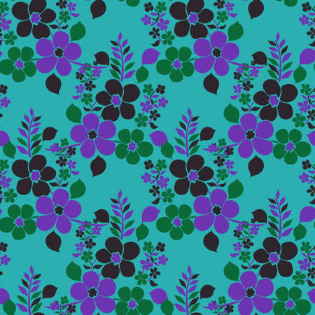 Elegant seamless pattern with decorative flowers, design elements. Floral pattern for invitations, cards, print, gift wrap, manufacturing, textile, fabric, wallpapers Ilustração Vetorial