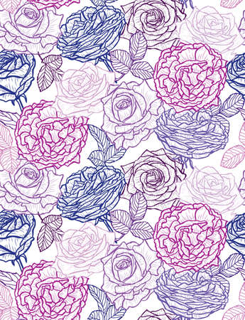 Elegant seamless pattern with rose flowers, design elements. Floral pattern for invitations, cards, print, gift wrap, manufacturing, textile, fabric, wallpapers