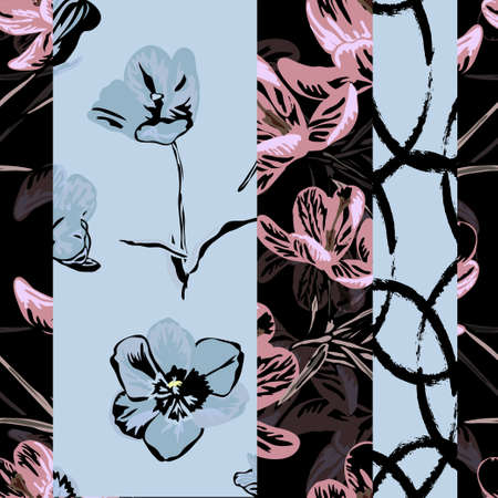 Elegant seamless pattern with tulip and crocus flowers, design elements. Floral pattern for invitations, cards, print, gift wrap, manufacturing, textile, fabric, wallpapers