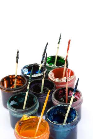 colorant: Pots of Decorators Gel Icing Colorants in Assorted Colors Stock Photo