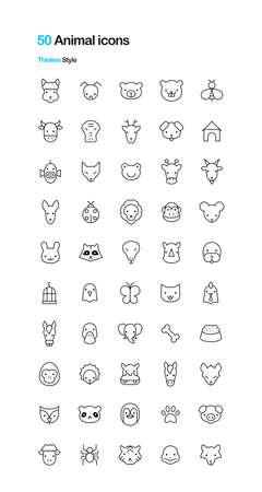 sea goat: Animal Vector Thin icons