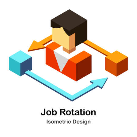 People and Rotation symbol Isometric Illustration