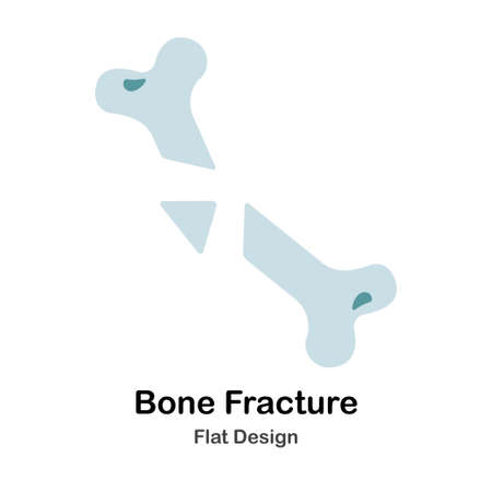 Broken bone In Flat Vector Illustration Design Icon
