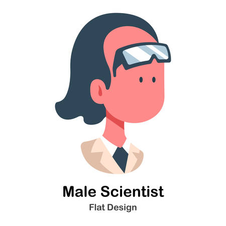 Male Scientist In Flat Vector Illustration Design Icon Çizim