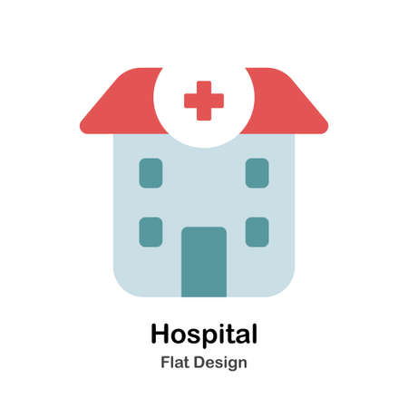 Hospital In Flat Vector Illustration Design Icon