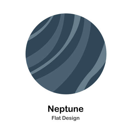 Neptune In Flat Vector Illustration Design Icon