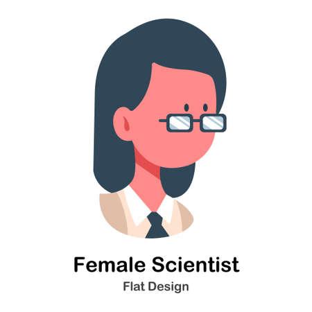 Female Scientist In Flat Vector Illustration Design Icon