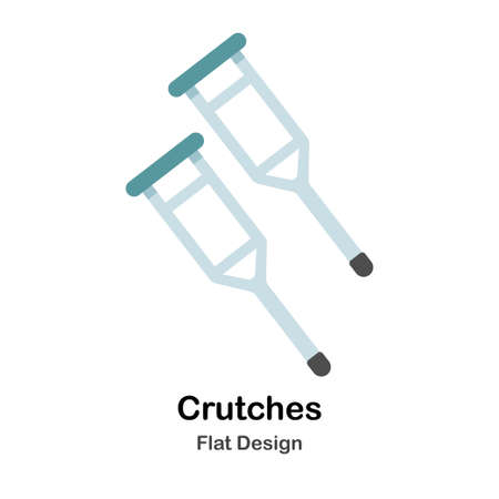 Crutches In Flat Vector Illustration Design Icon Vectores