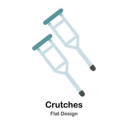 Crutches In Flat Vector Illustration Design Icon Illustration