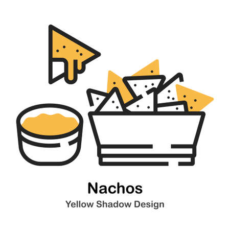 Nachos and dip lineal vector illustration Stok Fotoğraf - 112311705
