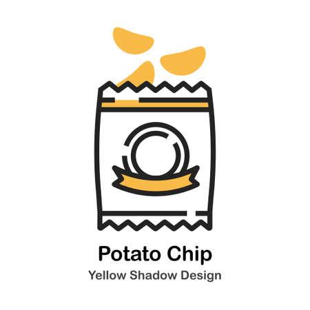 Potato chip in plastic bag in lineal vector illustration Icon Design