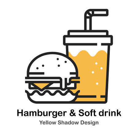 Hamburger and Soft drink in lineal vector illustration Icon Design Illustration