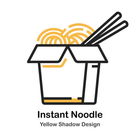 Instant Noodle lineal vector illustration