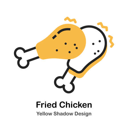 Fried Chicken in lineal vector illustration Icon Design