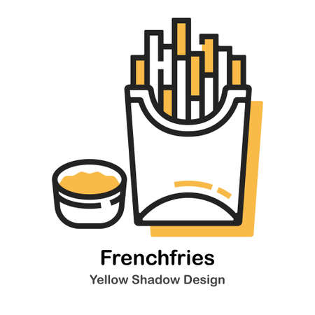 French fries and dip lineal vector illustration