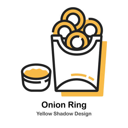 Fried onion rings lineal vector illustration