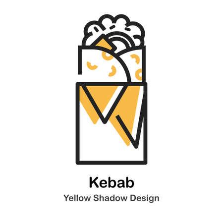 Meat kebab lineal vector illustration