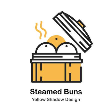 Steamed buns lineal vector illustration