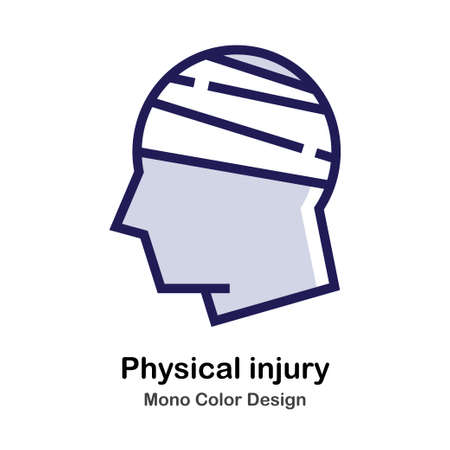 Head and bandage mono color icon Illustration