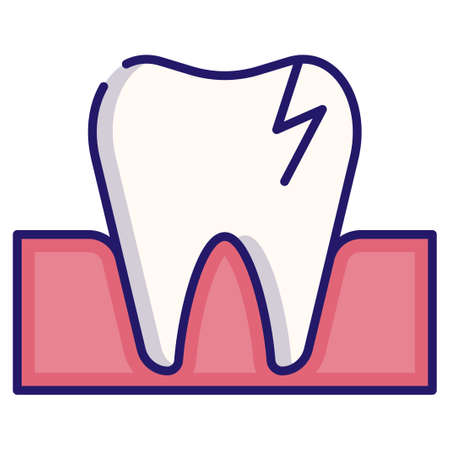 Broken tooth vector illustration in LineColor design Ilustração