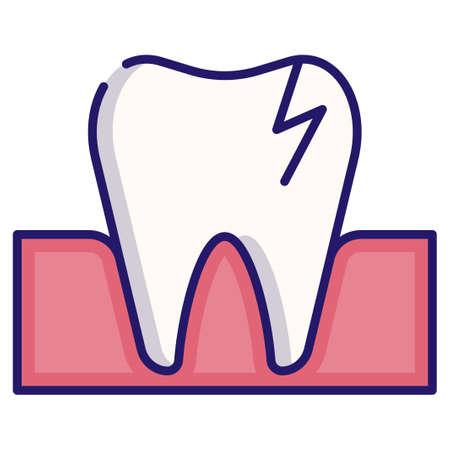Broken tooth vector illustration in LineColor design Illustration