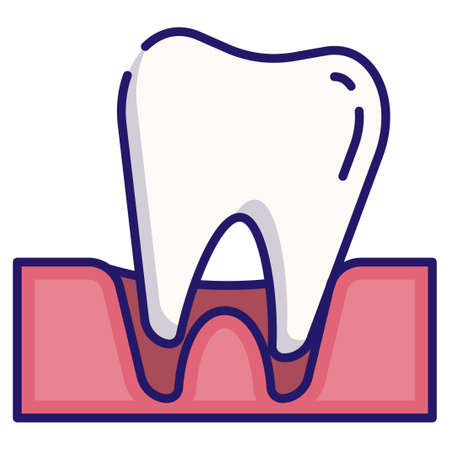 Tooth loose vector illustration in LineColor design