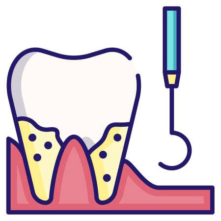 Dental plaque cleaning vector illustration in LineColor design