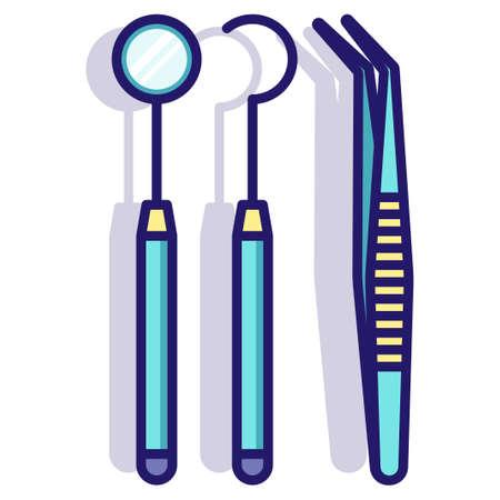 Dental tools vector illustration in LineColor design Illusztráció