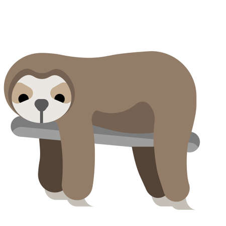 Sloth vector illustration in flat color design