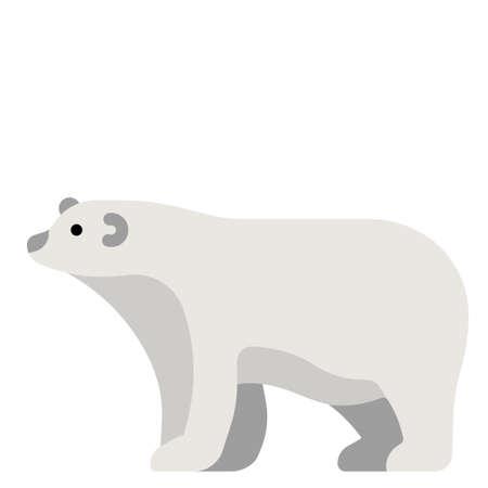 Polar bear vector illustration in flat color design