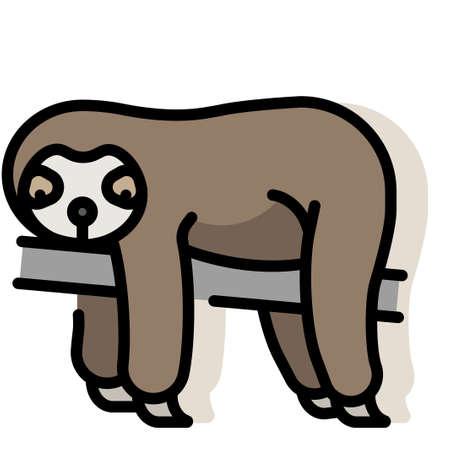 Sloth vector illustration in line color design