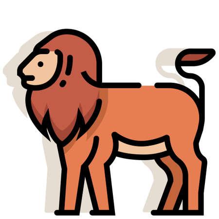 Lion vector illustration in line color design