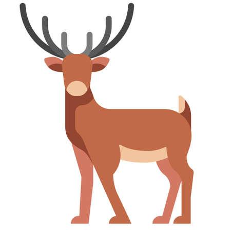 Deer vector illustration in flat color design