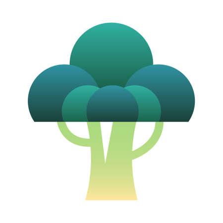 organic broccoli vector illustration in gradient design Ilustração