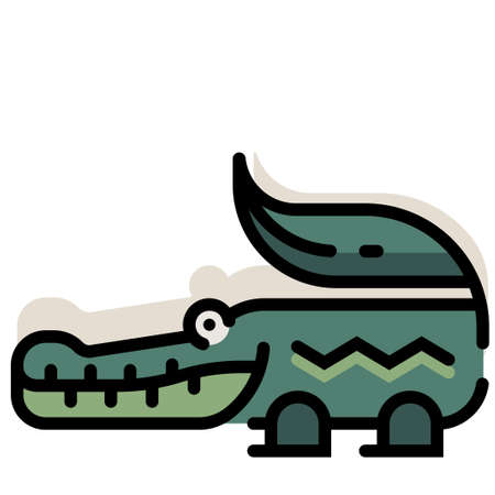 Crocodile vector illustration in line color design