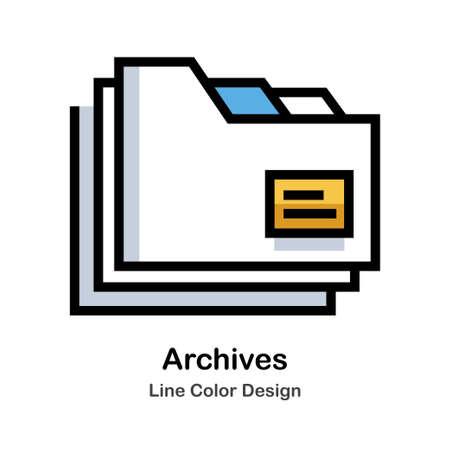 Icono de color de línea de carpetas de archivo Ilustración de vector