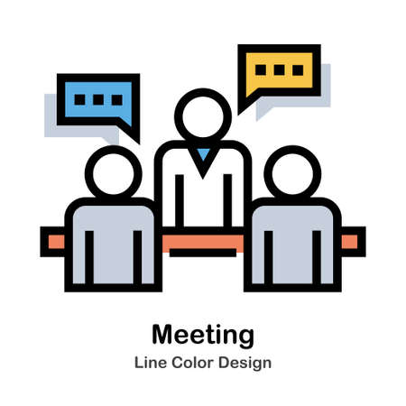 People discuss to each other Line Color Icon
