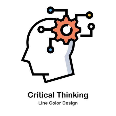 Head and Gear Line Color Icon illustration Design