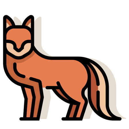 Fox vector illustration in line color design