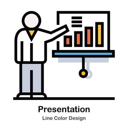 Man presenting graph Line Color Icon illustration Design