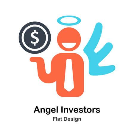 Angel Investor funding Flat Color Design Vector Illustration Illustration