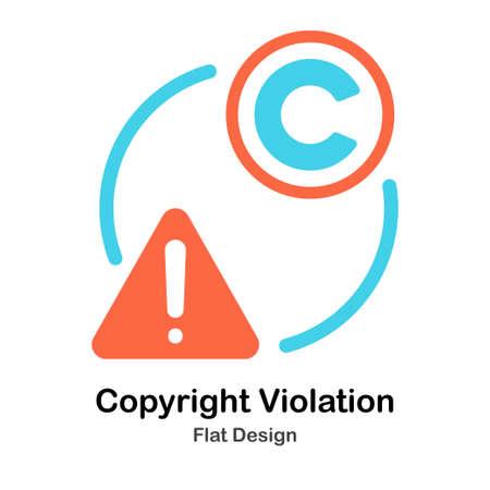 Copyright Violation Icon Flat Color Design Vector Illustration