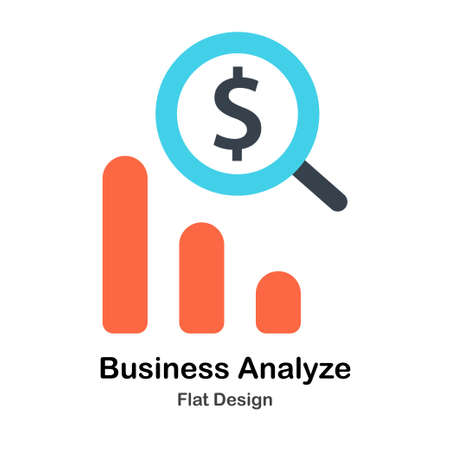 Magnifying glass analyzing business graph Flat Color Design Vector Illustration