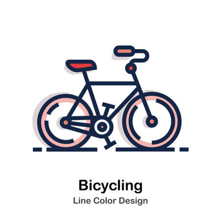 Bicycle Line color icon Illustration